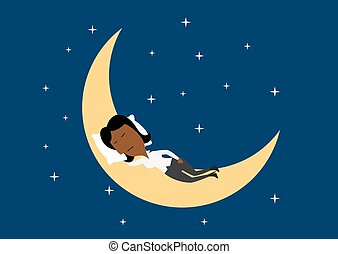 Weary businesswoman sleeping on the moon - Weary african...