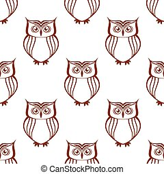 Brown owls silhouette seamless pattern - Brown and white owl...
