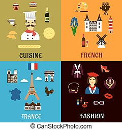 France travel, journey and landscape icons