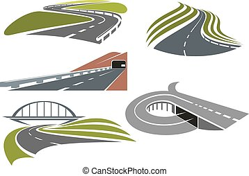 Roads and highways icons set - Winding roads among green...