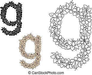 Floral alphabet lowercase letter g - Colorless floral...