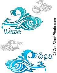 Blue and teal ocean waves icons - Curling sea and ocean...