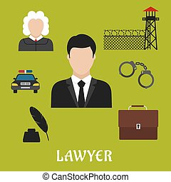 Lawyer and justice flat symbols or icons - Lawyer profession...