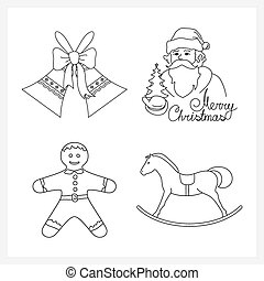 Set of Christmas Icons, Holiday Jingle Bells, Santa Claus...