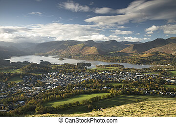Derwent Water and Keswick in the Lake District from the top...