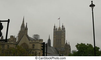 Great Britain Flag on Westminster P - Rear view of...