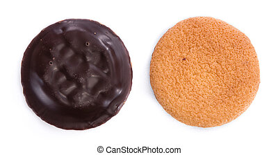 Jaffa Cakes isolated on white - Some Jaffa Cakes isolated on...
