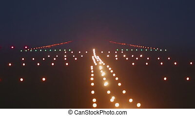 Landing lights runway airport, rack focus