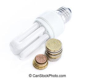 Energy saving lamp with european money