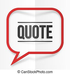 Red paper with shadow quote speech bubble frame - Red paper...