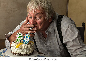Pensioner smoking on his birthday - Naughty old pensioner...