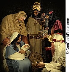 Wisemen at Christmas - Live Christmas nativity scene...