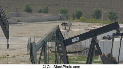 4K, 3 Oilpumps in Sicily, Italy - Oilpumps, Oilfield. Native...