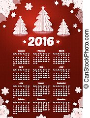 Dark red 2016 New Year calendar with white paper Christmas trees and snowflakes