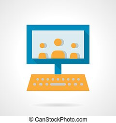 E-learning audience flat vector icon - Laptop with imaging...