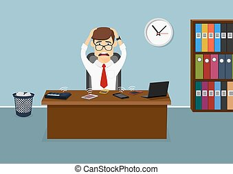Stressful businessman has a lot telephone calls - Busy...
