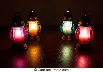 abrasador, votive, velas, en, el, Oscuridad,