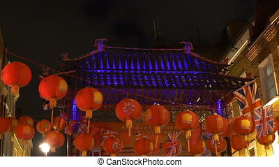 Paper Lanterns in London Chinatown - Nighttime view of...