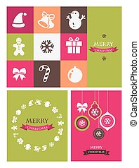 Christmas retro icons, elements and