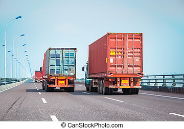 container truck on the bridge - container trucks on the...