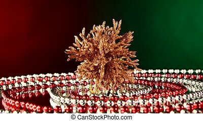 Unusual coral toy for Christmas or New Year and beads,...
