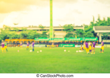 Abstract blur Soccer game ( Filtered image processed vintage...