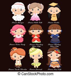 Food Princess Vector Set