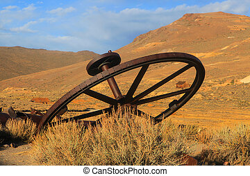 Old wagon wheel in Bodie California
