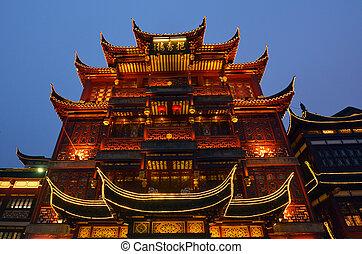 Yuyuan Tourist Mart in Shanghai China - An old buildings in...
