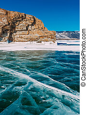 frozen winter Baikal - very cool pure ice of the frozen lake...