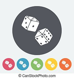 Craps flat icon - Craps. Single flat icon on the circle...
