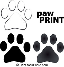 paw prints isolated on white background