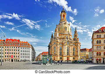 DRESDEN, GERMANY- SEPTEMBER 08, 2015 :Dresden Frauenkirche (Church of Our Lady) is a Lutheran church in Dresden. Saxony, Germany.