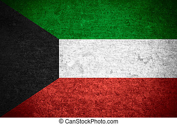 Kuwait flag - flag of Kuwait or Kuwaiti banner on old metal...