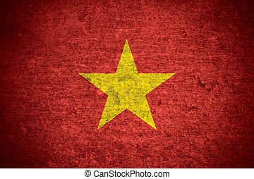 Vietnam flag - flag of Vietnam or Vietnamese banner on old...