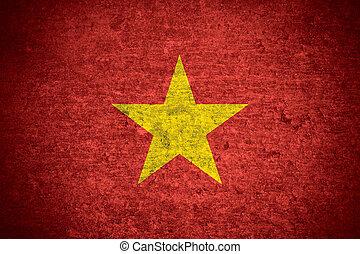 Vietnam flag - flag of Vietnam or Vietnamese banner on old...