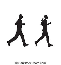 Silhouette of running people, couple Man and woman - Black...