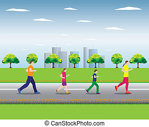 Running family Family sports - Running family Active family...