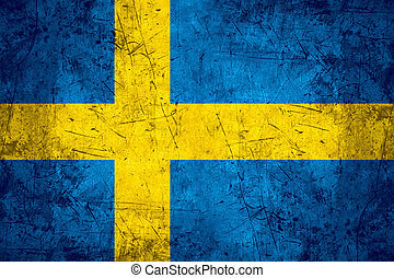 Sweden flag - flag of Sweden or Swedish banner on rough...