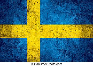 Sweden flag - flag of Sweden or Swedish banner on rough...