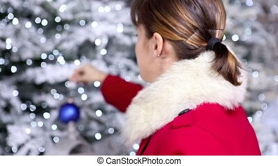 Christmas woman with blue ball of t