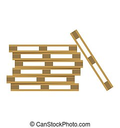 Wooden warehouse shelves flat icon isolated on white...