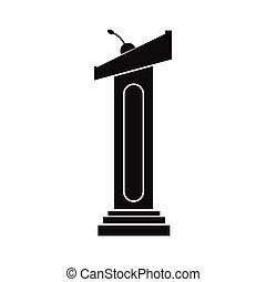 Tribune black icon isolated on white background