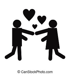 Girl and boy black icon