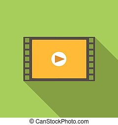Video flat icon for web or mobile device