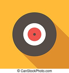 Vinyl record icon. Flat design with long shadow