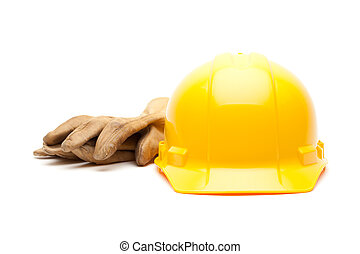 Yellow Hard Hat and Gloves on White