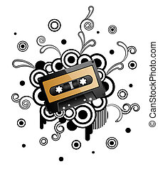 Abstract retro background with audio tape.