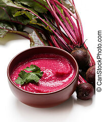 Hummus - Food. Hummus out of beetroot