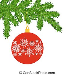 Fur tree branch - Branch ate a Christmas decoration, red...